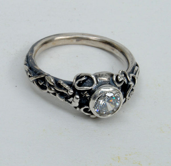 Silver Engagement Ring with Zircon - riccoartjewelry.com  - 3