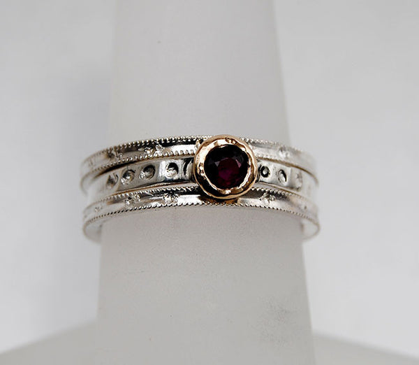 Ruby and 18K Gold and Silver Stack Set - riccoartjewelry.com  - 1