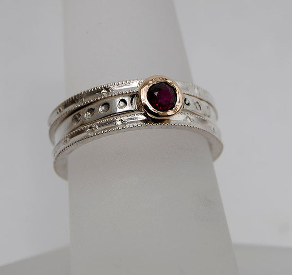 Ruby and 18K Gold and Silver Stack Set - riccoartjewelry.com  - 5