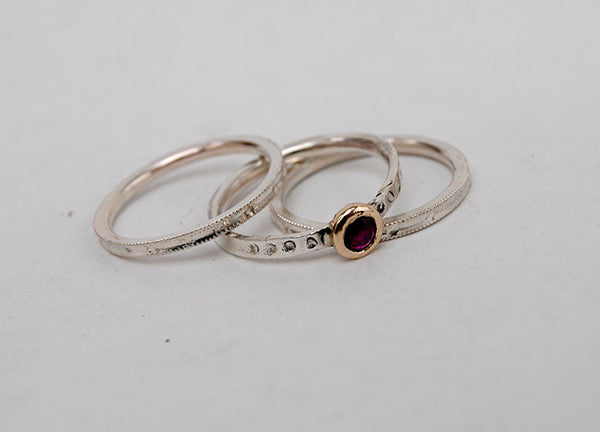 Ruby and 18K Gold and Silver Stack Set - riccoartjewelry.com  - 3
