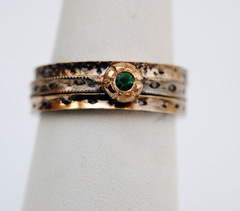 Gold and Silver Stack Set with Emerald - riccoartjewelry.com  - 1