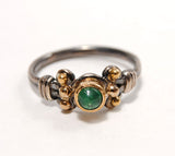 18K Gold on Silver Ring with Emerald Cabochon - riccoartjewelry.com  - 2