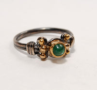 18K Gold on Silver Ring with Emerald Cabochon - riccoartjewelry.com  - 3
