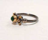 18K Gold on Silver Ring with Emerald Cabochon - riccoartjewelry.com  - 4