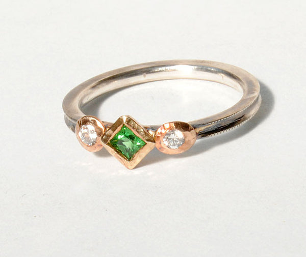 18K Gold on Silver Ring with Tsavorite Garnet and Diamonds - riccoartjewelry.com  - 1