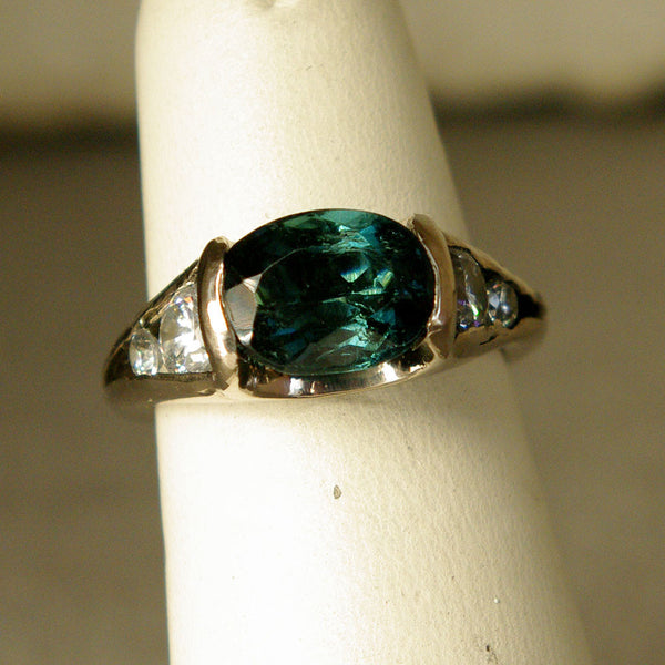14K Gold Ring with Diamonds and Tourmaline Custom Order - riccoartjewelry.com  - 2