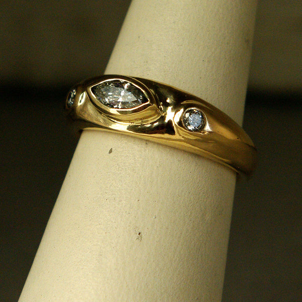 14K Gold Ring with Diamonds - riccoartjewelry.com  - 1