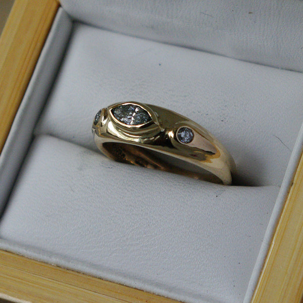 14K Gold Ring with Diamonds - riccoartjewelry.com  - 3