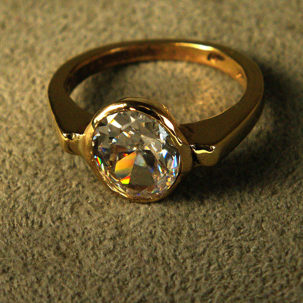 18K Gold Ring with Two and One-half Carat Diamond Custom Order - riccoartjewelry.com  - 2