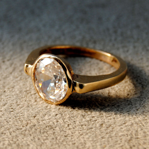 18K Gold Ring with Two and One-half Carat Diamond Custom Order - riccoartjewelry.com  - 1