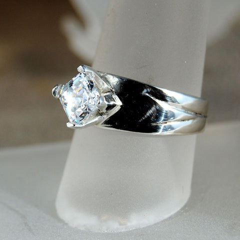 Gold Ring with One and One-half Carat Asscher Cut Diamond Custom Order - riccoartjewelry.com  - 1