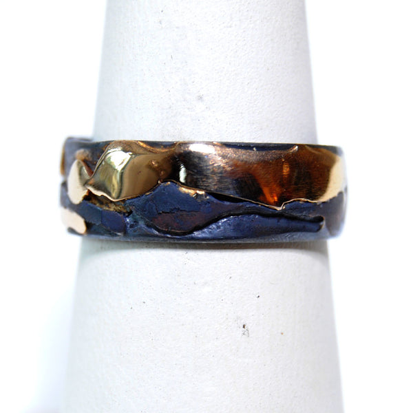 14K and Silver Wide Band Ring - riccoartjewelry.com  - 2