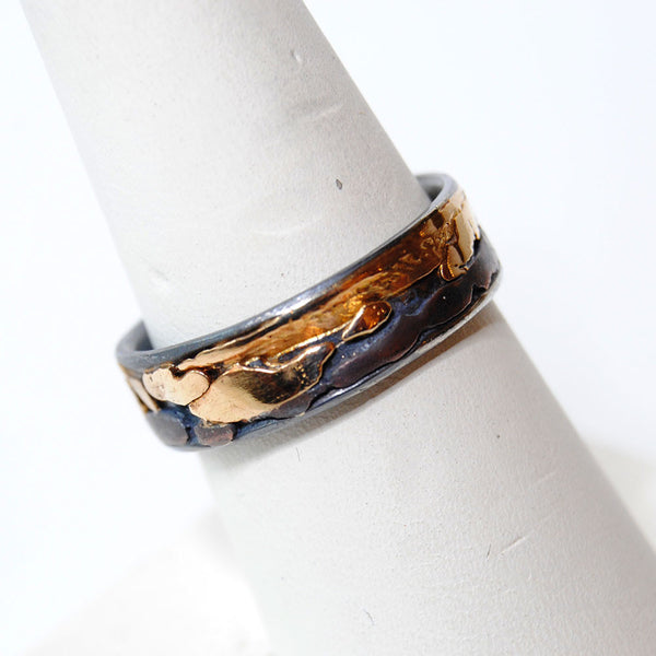 14K and Silver Composite Wide Band Ring - riccoartjewelry.com  - 2