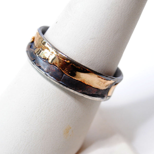 14K and Silver Composite Wide Band Ring - riccoartjewelry.com  - 1