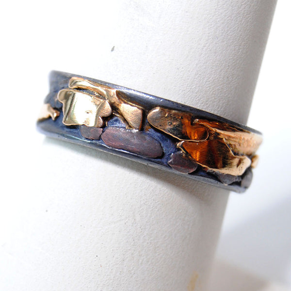 14K and Silver Composite Wide Band Ring - riccoartjewelry.com  - 3