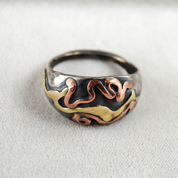 Abstract Mixed Metal Dome Ring - riccoartjewelry.com  - 2