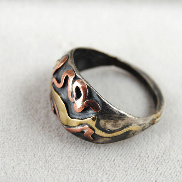 Abstract Mixed Metal Dome Ring - riccoartjewelry.com  - 4