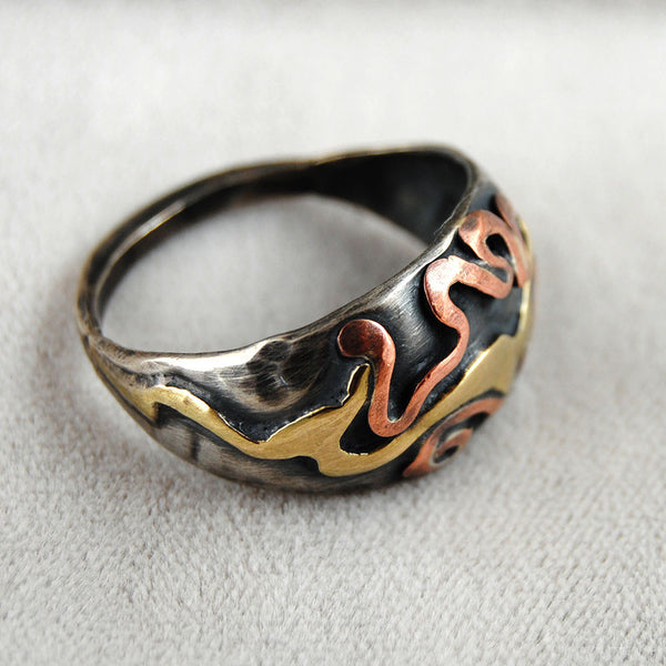 Abstract Mixed Metal Dome Ring - riccoartjewelry.com  - 3