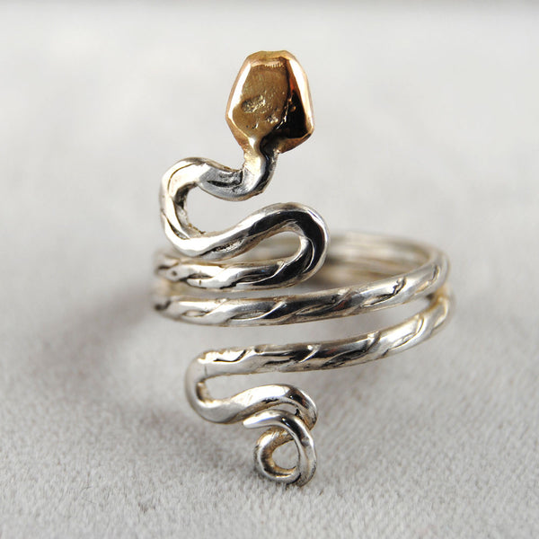 Gold Headed Snake Ring - riccoartjewelry.com  - 1