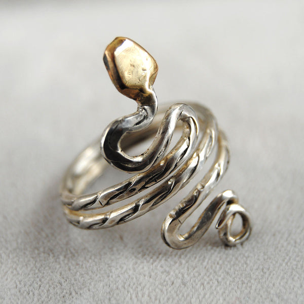 Gold Headed Snake Ring - riccoartjewelry.com  - 2