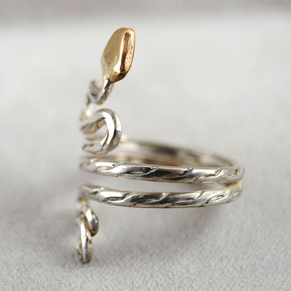 Gold Headed Snake Ring - riccoartjewelry.com  - 3