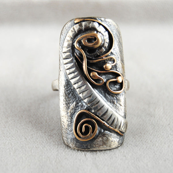 Abstract Mixed Metal Long Ring - riccoartjewelry.com  - 1