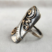 Abstract Mixed Metal Long Ring - riccoartjewelry.com  - 3