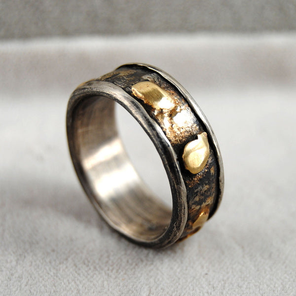 Gold and Silver Composite Wide Band Ring - riccoartjewelry.com  - 2