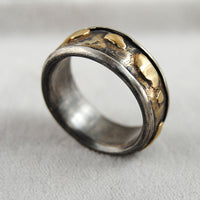 Gold and Silver Composite Wide Band Ring - riccoartjewelry.com  - 1