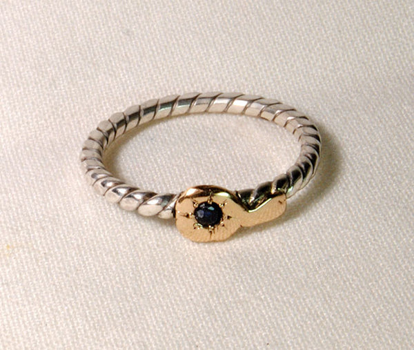 18K and Silver Nugget Ring with Sapphire