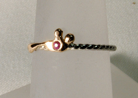 18K and Silver Nugget Ring with Ruby