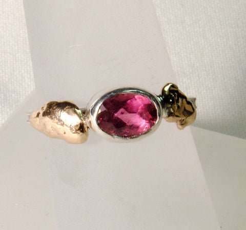 18K and Silver Nugget Ring with Tourmaline 4