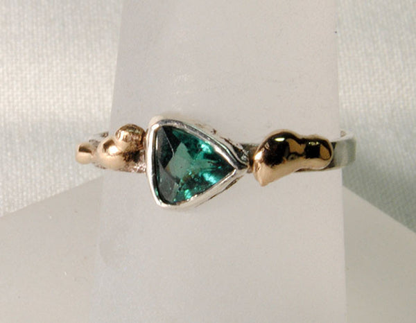 18K and Silver Nugget Ring with Tourmaline