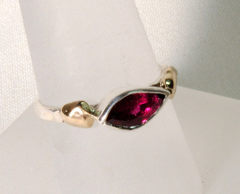 18K and Silver Nugget Ring with Tourmaline 3