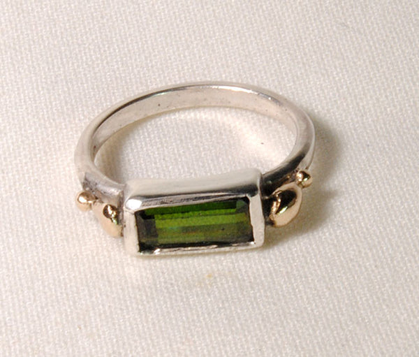 18K and Silver Nugget Ring with Tourmaline 5