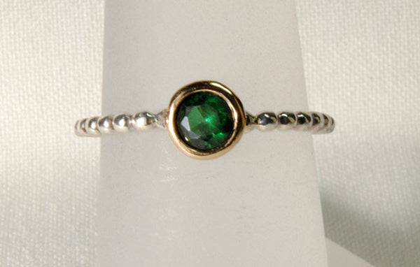 18K and Silver Ring with Tourmaline