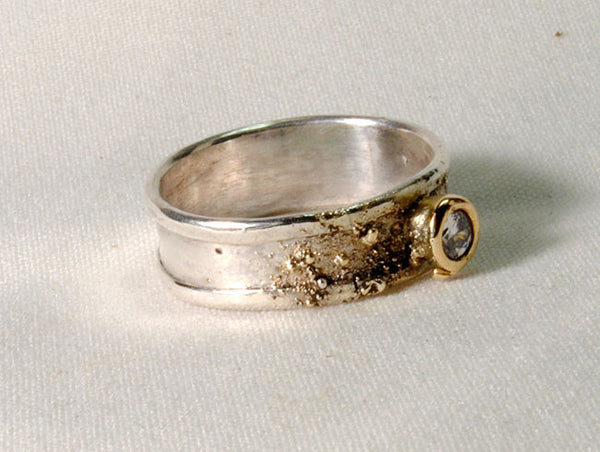 Custom Gold and Silver Band with Diamond
