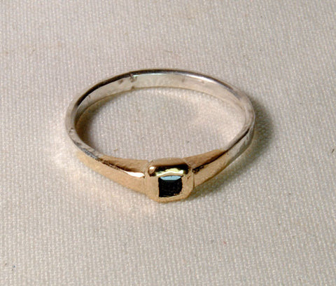 Gold and Silver Ring with Sapphire