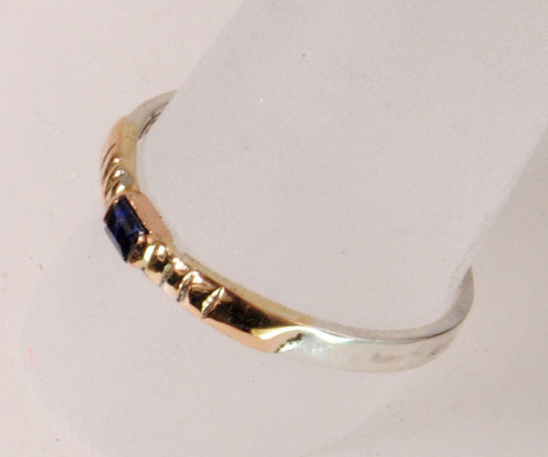 Gold and Silver Stack Ring with Sapphire
