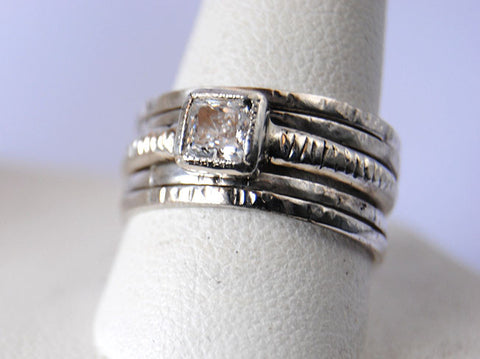 Engagement ring with stack rings set Custom Order - riccoartjewelry.com