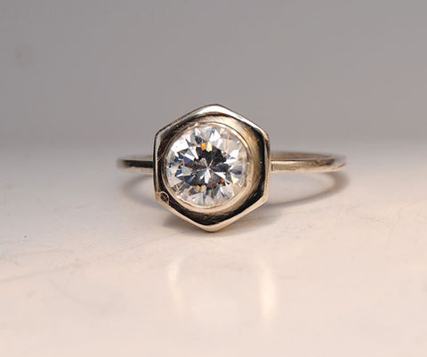 Diamond Engagement Ring on Hexagonal Base with Side Stacking Rings - riccoartjewelry.com  - 1