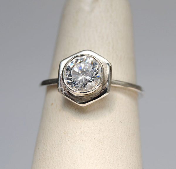Diamond Engagement Ring on Hexagonal Base with Side Stacking Rings - riccoartjewelry.com  - 3