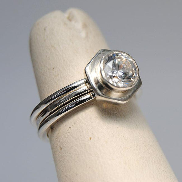 Diamond Engagement Ring on Hexagonal Base with Side Stacking Rings - riccoartjewelry.com  - 4