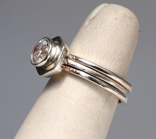 Diamond Engagement Ring on Hexagonal Base with Side Stacking Rings - riccoartjewelry.com  - 5