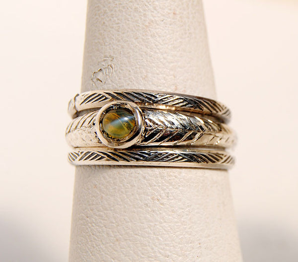 Chrysoberyl Ring with Stackable Side Rings - riccoartjewelry.com