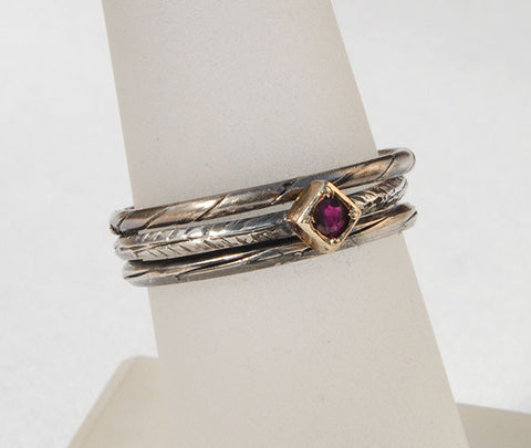 Skinny Stack Set with Ruby 2 - riccoartjewelry.com  - 1