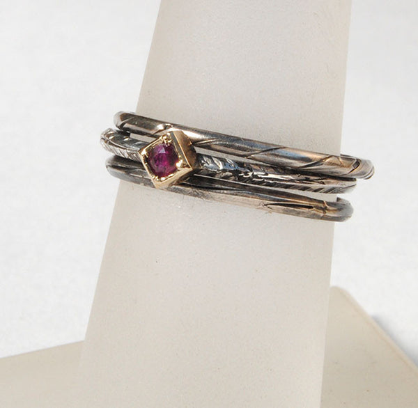 Skinny Stack Set with Ruby 2 - riccoartjewelry.com  - 2