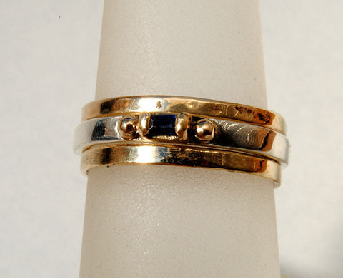 Skinny Stack Ring with Sapphire Baguette - riccoartjewelry.com  - 1