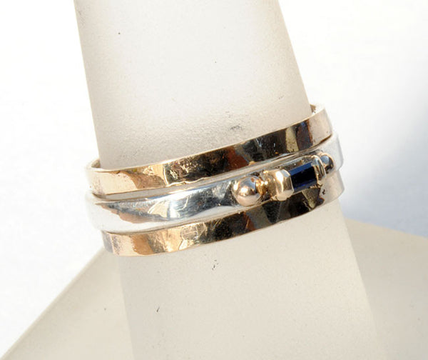 Skinny Stack Ring with Sapphire Baguette - riccoartjewelry.com  - 2