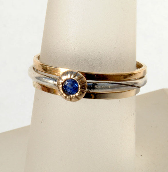 Skinny Stack Set with Sapphire 4 - riccoartjewelry.com  - 1